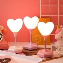 LED創意臥室觸摸心形小夜燈愛心燈矽膠遙控檯燈